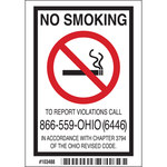 Brady B-302 Polyester Rectangle White No Smoking Sign - 5 in Width x 3.5 in Height - 103488