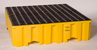 Eagle Yellow High Density Polyethylene 8000 lb 132 gal Spill Pallet - Supports 4 Drums - 51 in Width - 52 1/2 in Length - 13 3/4 in Height - 048441-60103
