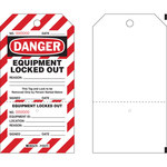 Brady PLLT2 Black / Red on White Polyester Lockout / Tagout Tag - 4 in Width - 7 in Height - B-851