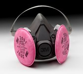 3M 6000 Series 6391 Black/White Large Thermoplastic Elastomer P100 Half Mask Facepiece Respirator - 051131-07003