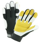 West Chester Ironcat 86555 Black/Yellow/White Large Grain Goatskin Leather/Spandex Work Gloves - 8.75 in Length - 86555/L