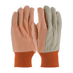 PIP 91-910PDO High-Visibility Orange Cotton Canvas General Purpose Gloves - Straight Thumb - PVC Dotted Palm & Fingers Coating