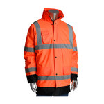 PIP 343-1755OR Black/Orange Large Polyester Cold Condition Coat - 3 Pockets - Detachable Hood - Fits 55.5 in Chest - Polyester Insulation - 35.4 in Length - 616314-82061