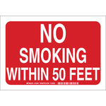 Brady B-401 Polystyrene Rectangle Red No Smoking Sign - 14 in Width x 10 in Height - 123919