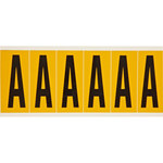 Brady 15 Series 1550-A Black on Yellow Vinyl Letter Label - Indoor / Outdoor - 1 1/2 in Width - 3 1/2 in Height - 2 15/16 in Character Height - B-946