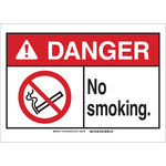 Brady B-401 Plastic Rectangle White No Smoking Sign - 14 in Width x 10 in Height - 143759
