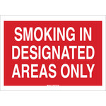 Brady B-401 Polystyrene Rectangle Red Smoking Area Sign - 14 in Width x 10 in Height - 122468