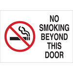 Brady B-120 Fiberglass Reinforced Polyester Rectangle White No Smoking Sign - 14 in Width x 10 in Height - 141919