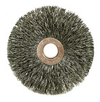 Weiler Steel Wheel Brush 0.118 in Bristle Diameter - Arbor Attachment - 3 in Outside Diameter - 1/2 to 3/8 in Center Hole Size - 15563