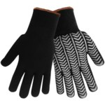 Global Glove S687 Black/Gray Large Acrylic/Terry Cloth Work Gloves - PVC Palm & Fingers Coating - 11 in Length