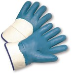 West Chester 4550 Blue Large Jersey Work Gloves - Nitrile Palm Only Coating - 10 in Length - Smooth Finish - 4550/L