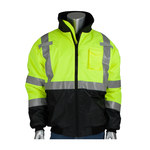 PIP Black/Lime Yellow Large Polyester Cold Weather Jacket - 5 Pockets - Quilted High Loft Polyfil Insulation - 616314-17816