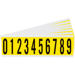 Brady 34 Series 3440-# KIT Black on Yellow Vinyl Cloth Numbers Label Kit - Indoor - 7/8 in Width - 2 1/4 in Height - 1 15/16 in Character Height - 34452