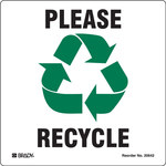 Brady B-7569 Vinyl Square White Recycle & Environment Sign - 5 in Width x 5 in Height - 20642FLS