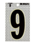 Brady 3010-9 Black on Silver Number Label - Indoor / Outdoor - 2 1/2 in Width - 3 1/2 in Height - 3 in Character Height - B-309