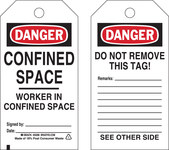 Brady 50286 Black / Red on White Polyester Worker in Confined Space Confined Space Tag - 3 in Width - 5 3/4 in Height - B-851