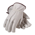 PIP 68-101 White Large Grain Cowhide Leather Driver's Gloves - Straight Thumb - 9.8 in Length - 68-101/L