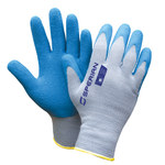 Sperian Perfect-Coat Blue/Gray Large Cotton/Polyester General Purpose Gloves - Latex Palm & Over Knuckles Coating - 305PC-L