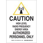 Brady B-555 Aluminum Rectangle White Radiation Hazard Sign - 7 in Width x 10 in Height - 124181