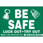 Brady 86243 White on Black Rectangle Polyester Lockout / Tagout Label - 5 in Width - 3 1/2 in Height - B-302