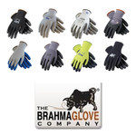 Brahma Gloves WA83 Blue Large Seamless Knit Work Gloves - Latex Palm Only Coating - Smooth Finish - WA8308A