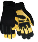 Red Steer 174 Black/Yellow Large Grain Goatskin Leather/Spandex Driver's Gloves - Wing Thumb - 174-L