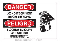 Brady B-555 Aluminum Rectangle White Lockout Sign - 10 in Width x 7 in Height - Language English / Spanish - 125115