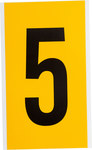Brady 15 Series 1570-5 Black on Yellow Vinyl Number Label - Indoor / Outdoor - 5 in Width - 9 in Height - 6 in Character Height - B-946