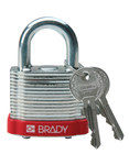 Brady Red Steel 5-pin Keyed & Safety Padlock 99500 - 1 9/16 in Width - 1 1/3 in Height - 17/64 in Shackle Diameter - 2 Key(s) Included - 754476-99500