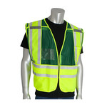 PIP 302-PSV Yellow/Green M/XL Mesh/Solid High-Visibility Vest - 2 Pockets - 616314-07320