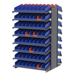Akro-Mils 1800 lb Blue Gray Steel 16 ga Double Sided Fixed Rack - 36 3/4 in Overall Length - 132 Bins - Bins Included - APRD1836448 BLUE