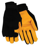 Red Steer 175 Black/Yellow Large Grain Goatskin Leather/Spandex Driver's Gloves - Wing Thumb - 175-L