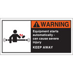 Brady 96156 Orange / White on Black Polyester Equipment Safety Label - 5 in Width - 2 1/2 in Height - B-302