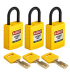 Brady SafeKey Yellow Nylon Plastic 6 pins Safety Padlock 150190 - 1 1/4 in Width - 1.65 in Height - 0.17 in Shackle Diameter - 1 Key(s) Included - 754473-61005
