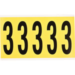 Brady 34 Series 3460-3 Black on Yellow Vinyl Cloth Number Label - Indoor - 1 3/4 in Width - 5 in Height - 3 7/8 in Character Height - B-498