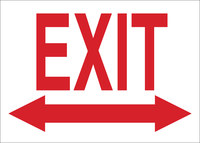 Brady B-401 High Impact Polystyrene Rectangle White Exit Sign - 10 in Width x 7 in Height - 22459
