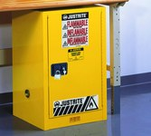 Justrite Sure-Grip EX 12 gal Yellow Steel Hazardous Material Storage Cabinet - 23 1/4 in Width - 35 in Height - Bench Top - 697841-11232