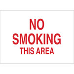 Brady B-120 Fiberglass Reinforced Polyester Rectangle White No Smoking Sign - 14 in Width x 10 in Height - 72148