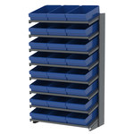 Akro-Mils APRS 900 lb Blue Gray Steel 16 ga Single Sided Fixed Rack - 36 3/4 in Overall Length - 24 Bins - Bins Included - APRS18118 BLUE