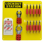 Brady Black/Yellow Acrylic Lockout Device Station - 13.5 in Width - 13.5 in Height - 754476-51187