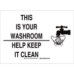 Brady B-555 Aluminum Rectangle White Personal Hygiene Sign - 14 in Width x 10 in Height - 31219