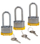 Brady Yellow Steel 5-pin Keyed & Safety Padlock 118981 - 1 5/16 in Width - 1 1/5 in Height - 17/64 in Shackle Diameter - 1 Key(s) Included - 754473-66220