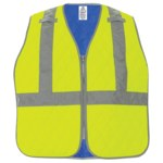 Global Glove Bullhead Safety GLO-CV1 HV Yellow/Green Large Nylon Cooling Vest - Soak in Cold Water - GLO-CV1 LG