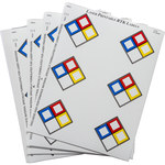 Brady 59251 Blue / Red / Yellow on White Vinyl Laser Printable Label - 2 in Width - 2 in Height - B-745