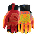 West Chester R2 87840 Orange/Red Large Synthetic Leather Work Gloves - Wing Thumb - ANSI A4 Cut Resistance - 87840/L