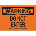 Brady B-555 Aluminum Rectangle Orange Restricted Area Sign - 10 in Width x 7 in Height - 127068