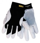 Tillman TrueFit 1470 Pearl/Black Medium Grain Goatskin Leather/Spandex Work Gloves - Leather Palm & Fingertips Coating - 8 in Length - Smooth Finish - 1470M