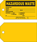 Brady 86763 Black on Yellow Cardstock Chemical Hazard Tag - 5 3/4 in Width - 3 in Height - B-853