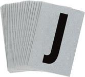 Brady Bradylite 5900-J Black on Silver Letter Label - Outdoor - 1 in Width - 1 1/2 in Height - 1 in Character Height - B-997
