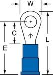 3M Scotchlok MV14-8R/LK Blue Brazed Vinyl Brazed Ring Terminal - 0.93 in Length - 0.31 in Wide - 0.09 in Inside Diameter - #8 Stud - 01419